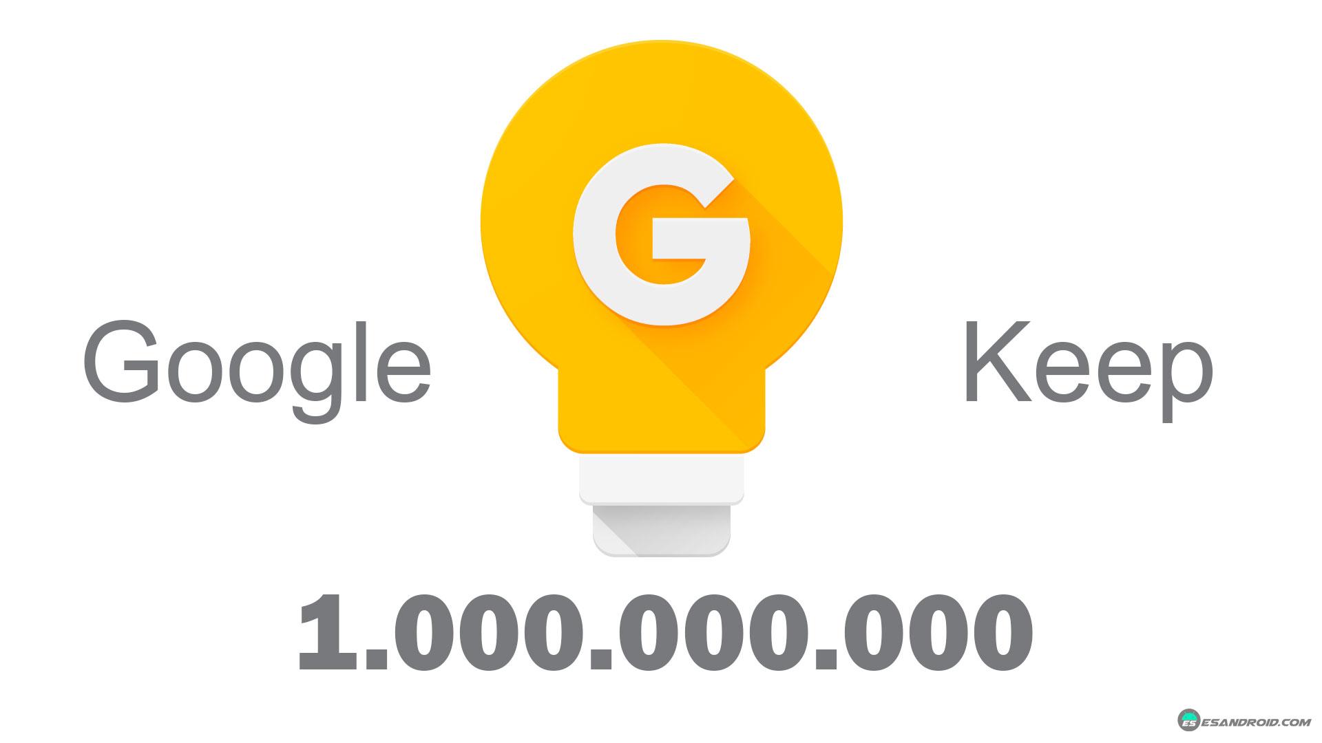 Google Keep supera las diez cifras